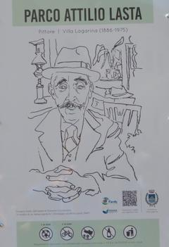 La targa indicativa, con un ritratto di Lasta fatto da Romano Conversano