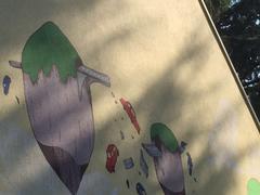 Particolare del dipinto sulla casetta del tennis