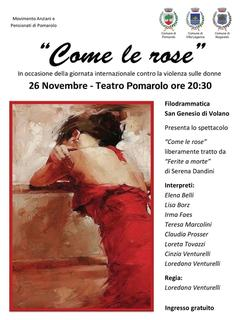 Sabato 26 novembre spettacolo a Pomarolo